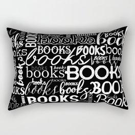 Books Books Books - White on Black Rectangular Pillow