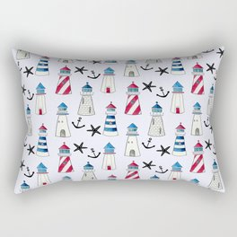 Watercolor Lighthouses Rectangular Pillow