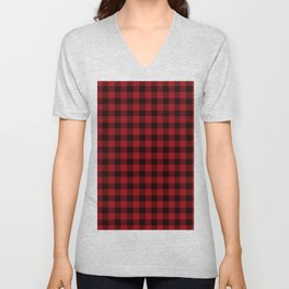 Red And Black Lumberjack Flannel Pattern Unisex V-Neck