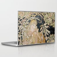 mucha Laptop & iPad Skins featuring 1898 - 1900 Femme a Marguerite by Alphonse Mucha by BookCollecting101