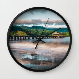 Hanalei Pier Kauai Hawaii Wall Clock
