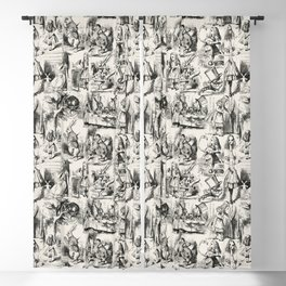 Alice in Wonderland | Toile de Jouy Pattern | Black | Beige | Vintage Pattern | Victorian Gothic | Blackout Curtain