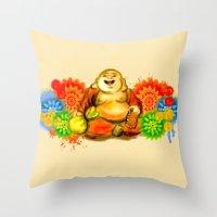 buddah Throw Pillows featuring Buddah by Adaildo Neto