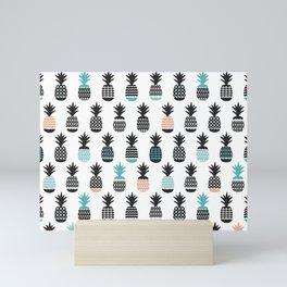 Cool pineapple summer fresh illustration pattern Mini Art Print
