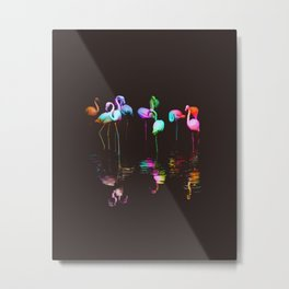 Rainbow Flamingos Metal Print