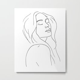 Woman in Reverie Line Drawing Metal Print