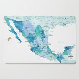 Detailed map of Mexico with states, aquamarine blue Cutting Board