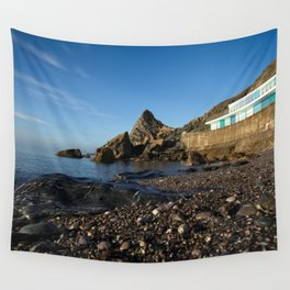 Meadfoot Beach Huts And Imposing Cliffs Wall Tapestry
