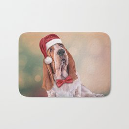 Drawing funny dog. Basset Hound in red hat of Santa Claus Bath Mat