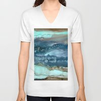agate V-neck T-shirts featuring Navy Agate by Amie Amyotte