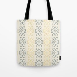 Embroidered flowers yellow and grey pattern Tote Bag