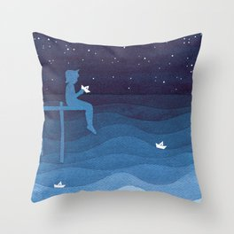 Boy with paper boats, blue Throw Pillow