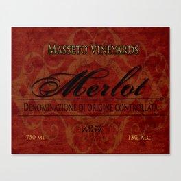 Vintage Wine Label Print (Merlot) Canvas Print