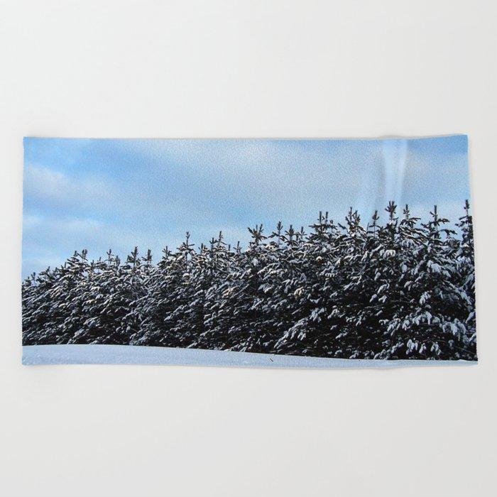 Christmas Tree Forest Beach Towel