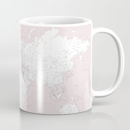 World map, highly detailed in dusty pink and white, square Coffee Mug