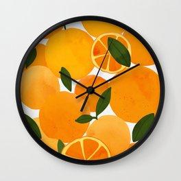 mediterranean oranges still life  Wall Clock