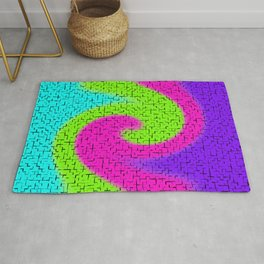 Tile Twirl Digital Illustration - Lime Green Wave Swirl - Graphic Design Rug