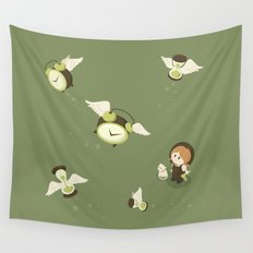 Girl Watching Time Flies Wall Tapestry