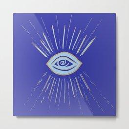 Evil Eye Soft Blue Gold on Blue #1 #drawing #decor #art #society6 Metal Print