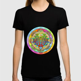 Inner Strength Psychedelic Tiger Sri Yantra Mandala T-shirt