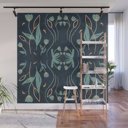 Floral Symmetry Pattern in Deep Blue And Teal Wall Mural