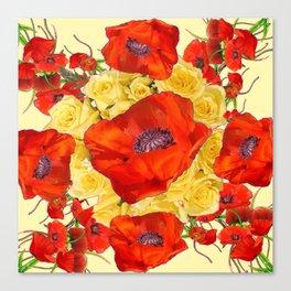 ORANGE POPPY FLOWERS GARDEN YELLOW ROSES ART Canvas Print