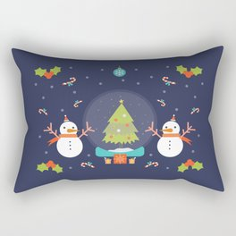 Day 01/25 Advent - Frosty meets his match Rectangular Pillow