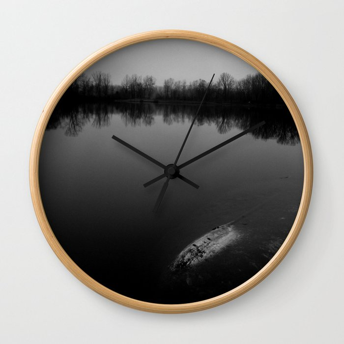 Sunset at the Lake - B&W Wall Clock