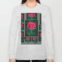 PINK ROSES VIGNETTE PATTERN ART Long Sleeve T-shirt