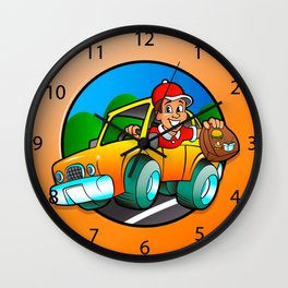 Cartoon man in delivery car Wall Clock