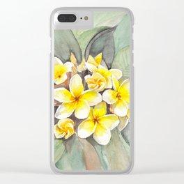 Frangipani White Clear iPhone Case