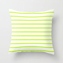 Horizontal Lines (Lime/White) Throw Pillow