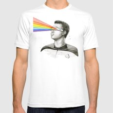 Geordi Rainbow Watercolor Portrait Geek Sci-fi Mens Fitted Tee MEDIUM White
