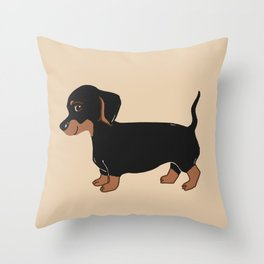 Black and Brown Dachshund Art Throw Pillow
