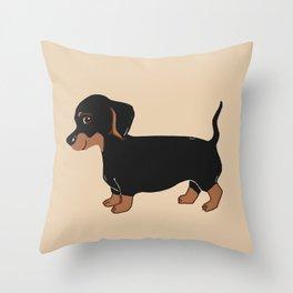 Black and Brown Dachshund Art Throw Pillow
