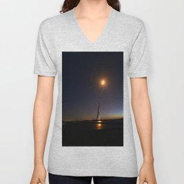 The launch of space shuttle Discovery on the STS-131 mission was captured from a field of Florida Po Unisex V-Neck