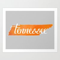 tennessee Art Prints featuring Tennessee by Emmy Winstead