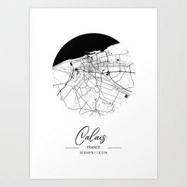 Calais Area City Map, Calais Circle City Maps Print, Calais Black Water City Maps Art Print