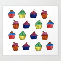cupcakes Art Prints featuring cupcakes by MeriRS