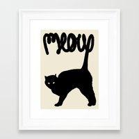 meow Framed Art Prints featuring Meow by Florent Bodart / Speakerine