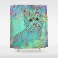 yorkie Shower Curtains featuring Dog Illustration ; Yorkie by bialy kot art