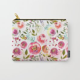 blush pink peonies watercolor fuchsia flowers Carry-All Pouch