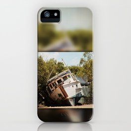 Grounded boat in need of some care iPhone Case