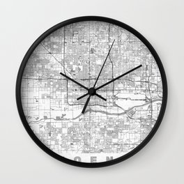 Phoenix City Map Line Wall Clock