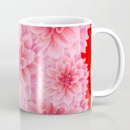 PINK DAHLIA FLOWERS IN RED COLOR ART Coffee Mug