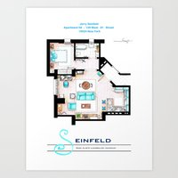seinfeld Art Prints featuring Jerry Seinfeld Apartment v2 by nikneuk
