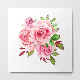 Flower bouquet with roses watercolor Metal Print