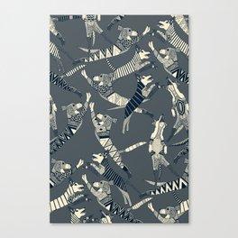 dog party indigo pewter Canvas Print