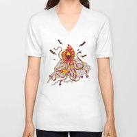 kraken V-neck T-shirts featuring Kraken! by Popnyville