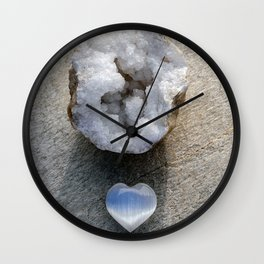 Selenite Heart And Quartz Geode Wall Clock